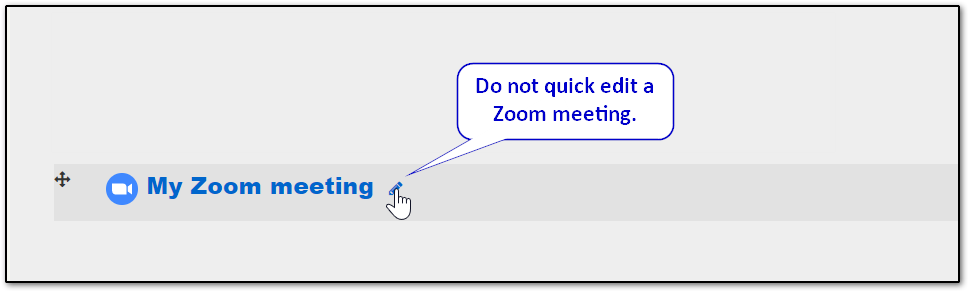 Zoom meeting quick edit