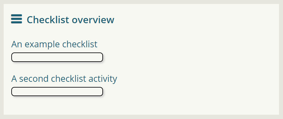 An example of the checklist block showing an overview of all checklist activities on a course