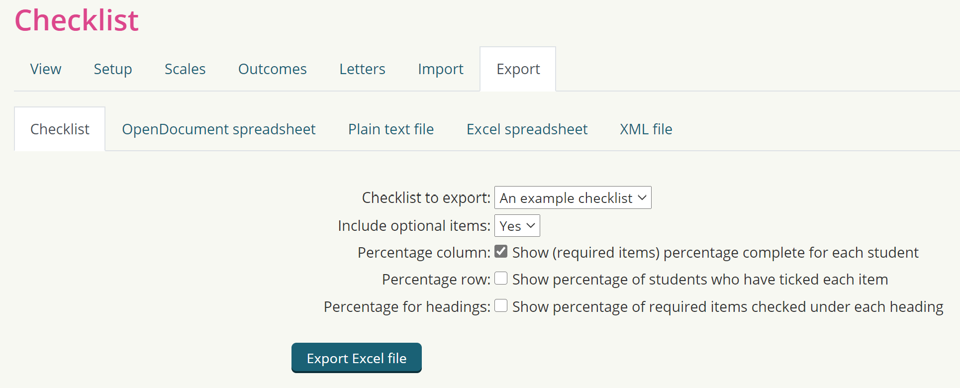 Imagine of export options for completion of a checklist activity