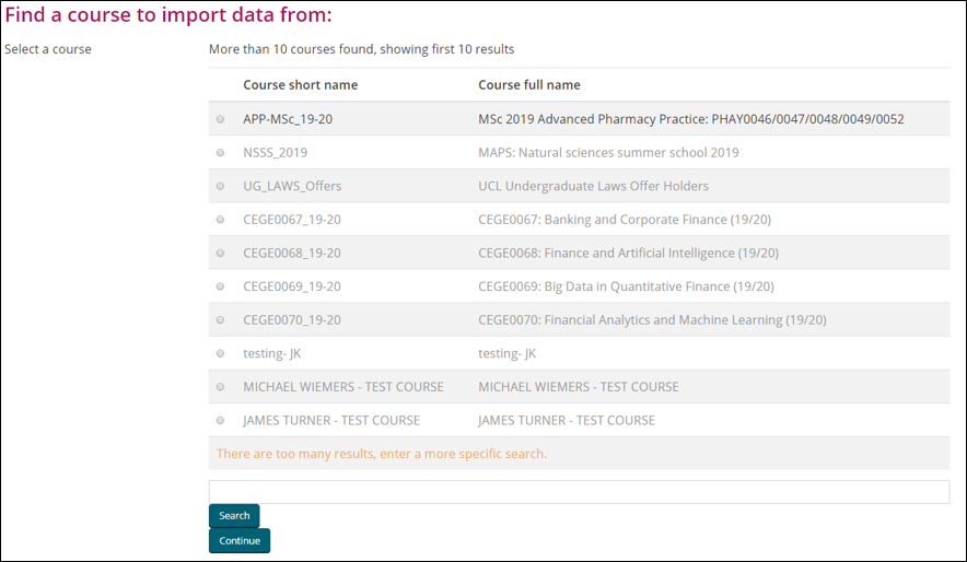 M01b - Import items from one Moodle course into another