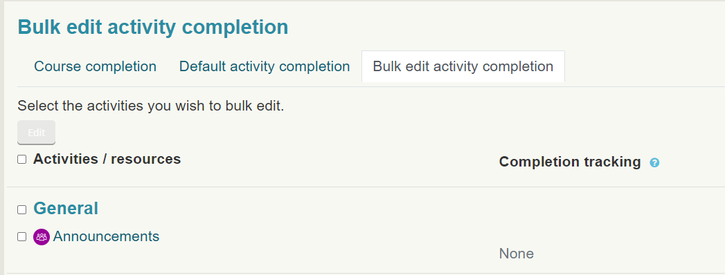 Bulk edit activity completion is an available option under Course completion on a Moodle course.