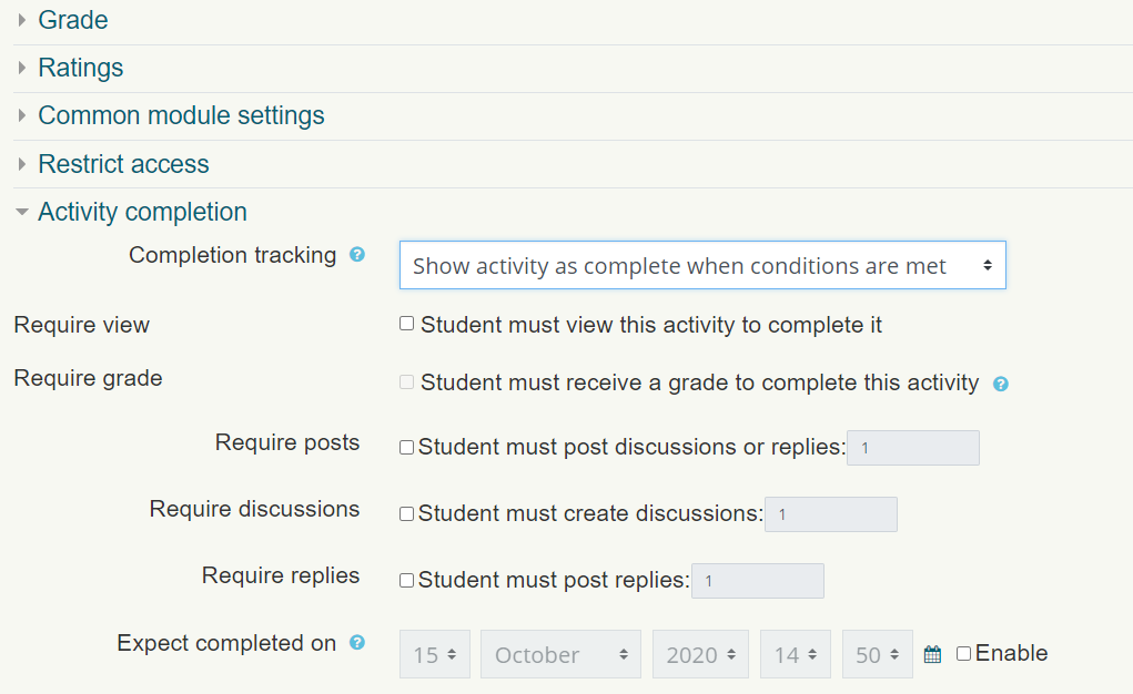 Activity Completition settings can be found when editing an activity.