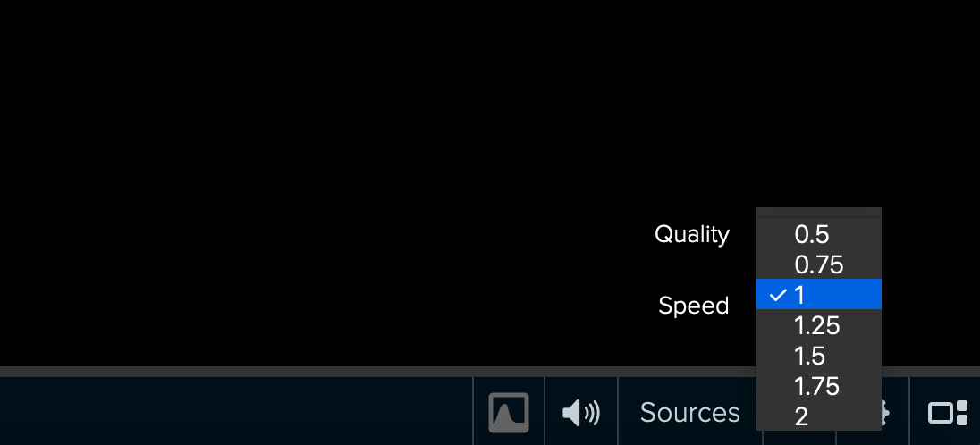 Playback speed options
